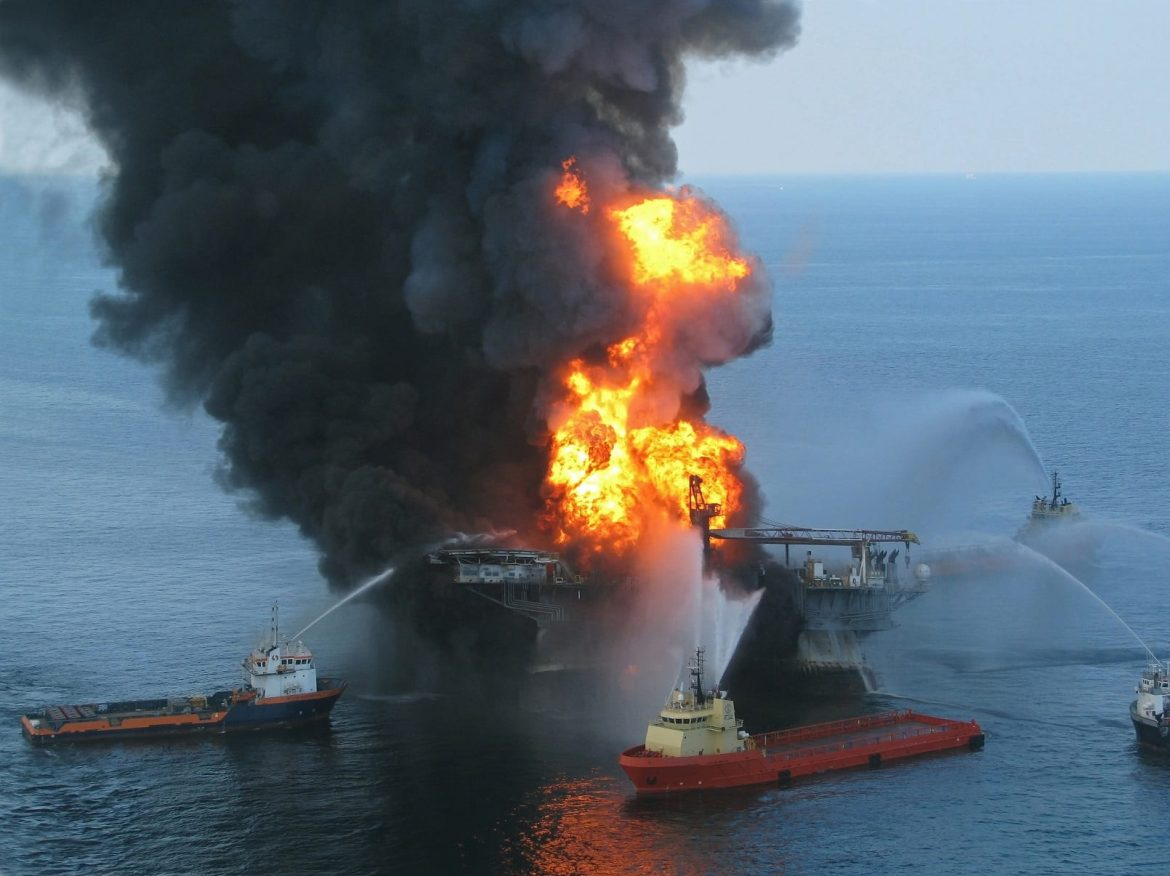 The U.S. Coast Guard fights to put out the Deepwater Horizon fire.